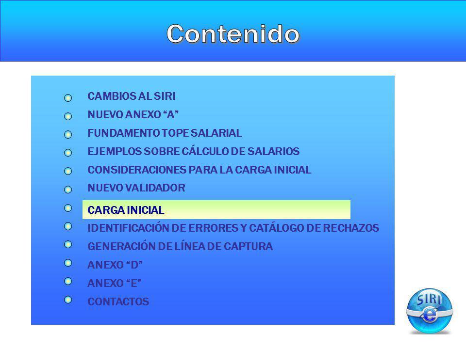 CARGA INICIAL NUEVO ANEXO A CAMBIOS AL SIRI FUNDAMENTO TOPE SALARIAL CONSIDERACIONES PARA LA CARGA INICIAL NUEVO VALIDADOR GENERACIÓN DE LÍNEA DE CAPT