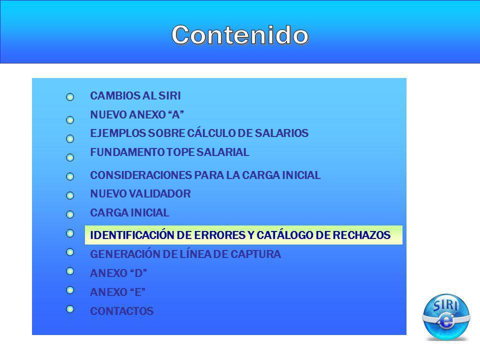 CARGA INICIAL IDENTIFICACIÓN DE ERRORES Y CATÁLOGO DE RECHAZOS NUEVO ANEXO A CAMBIOS AL SIRI FUNDAMENTO TOPE SALARIAL CONSIDERACIONES PARA LA CARGA IN