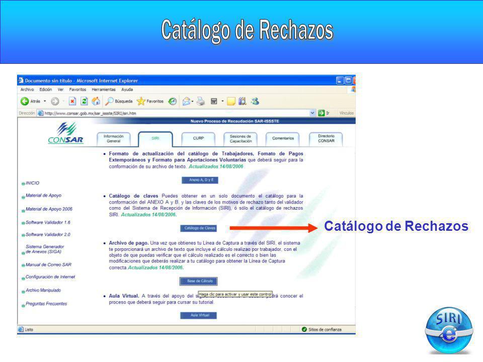 Catálogo de Rechazos