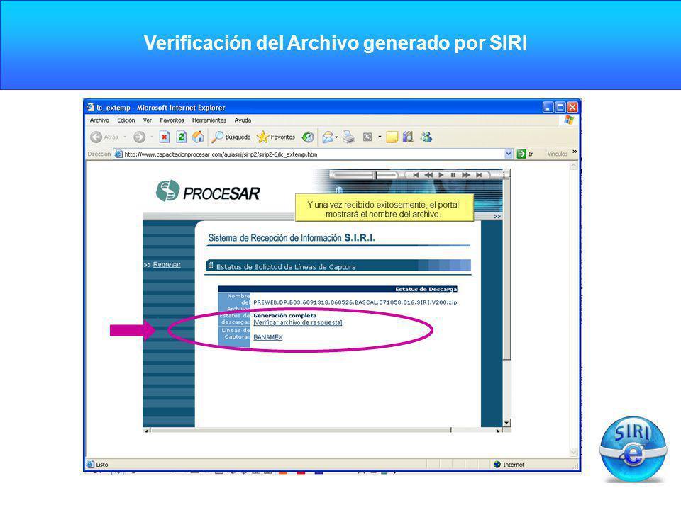 CARGA INICIAL Verificación del Archivo generado por SIRI