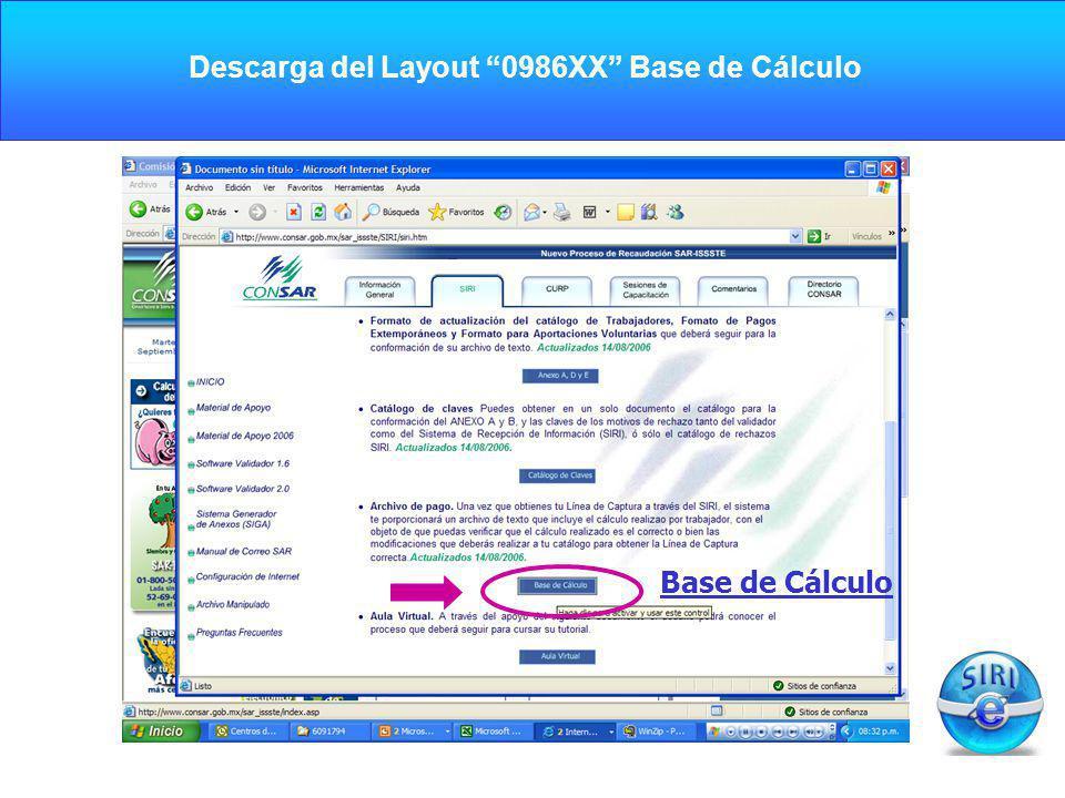 CARGA INICIAL Base de Cálculo Descarga del Layout 0986XX Base de Cálculo
