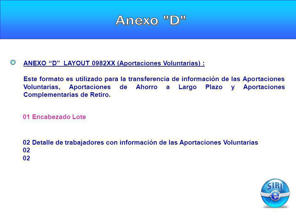 ANEXO D LAYOUT 0982XX (Aportaciones Voluntarias) : Este formato es utilizado para la transferencia de información de las Aportaciones Voluntarias, Apo