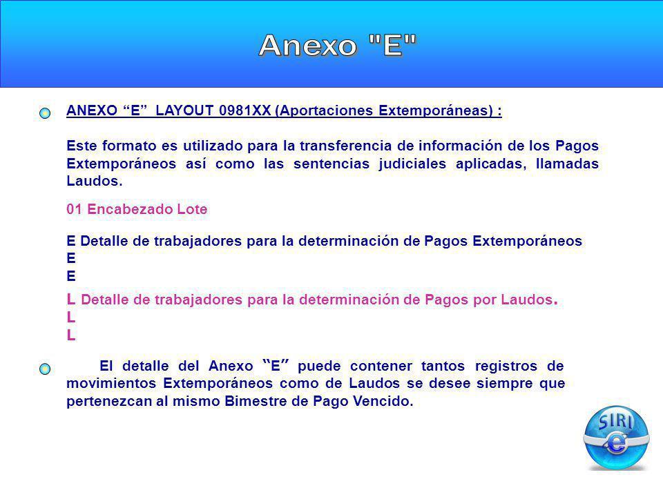 ANEXO E LAYOUT 0981XX (Aportaciones Extemporáneas) : Este formato es utilizado para la transferencia de información de los Pagos Extemporáneos así com
