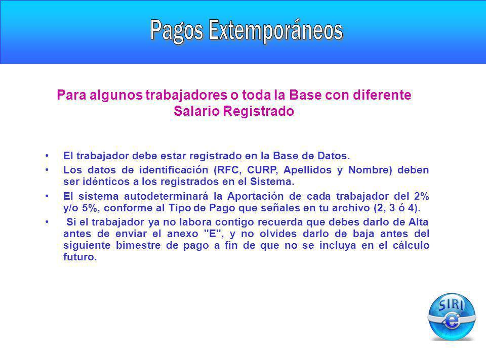 El trabajador debe estar registrado en la Base de Datos. Los datos de identificación (RFC, CURP, Apellidos y Nombre) deben ser idénticos a los registr