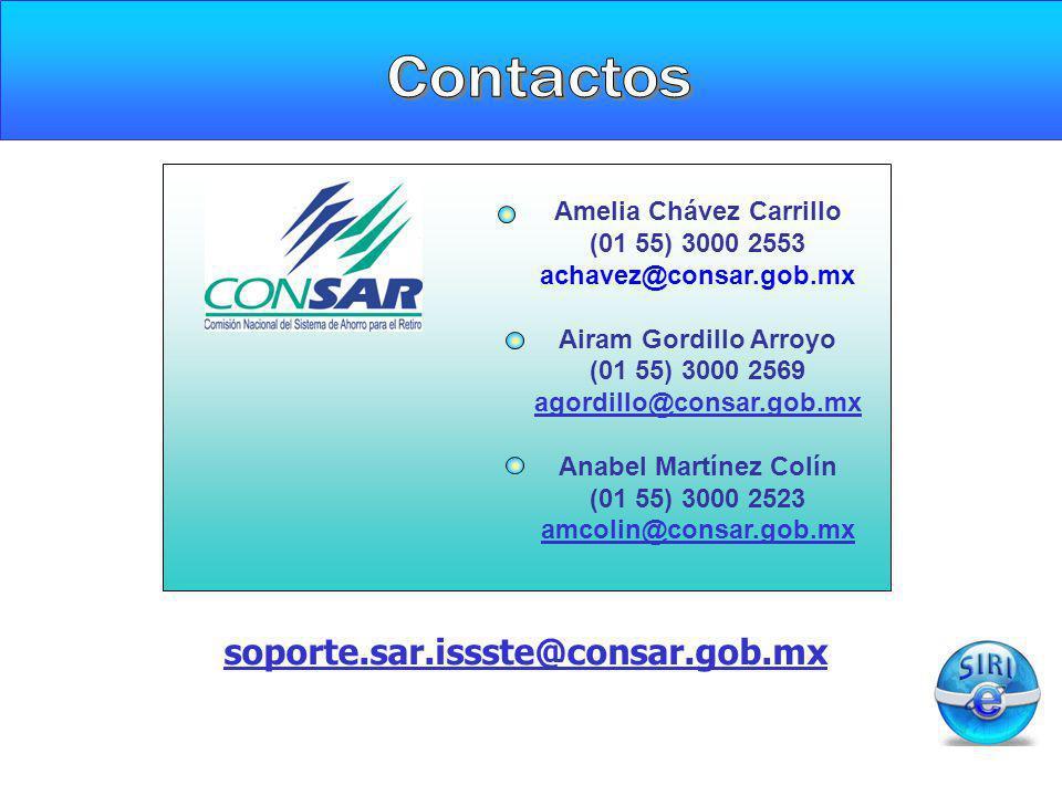 Amelia Chávez Carrillo (01 55) 3000 2553 achavez@consar.gob.mx Airam Gordillo Arroyo (01 55) 3000 2569 agordillo@consar.gob.mx Anabel Martínez Colín (