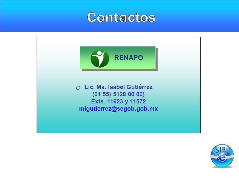 Lic. Ma. Isabel Gutiérrez (01 55) 5128 00 00) Exts. 11623 y 11572 migutierrez@segob.gob.mx RENAPO