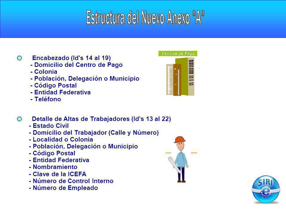 CARGA INICIAL Encabezado (Id's 14 al 19) - Domicilio del Centro de Pago - Colonia - Población, Delegación o Municipio - Código Postal - Entidad Federa