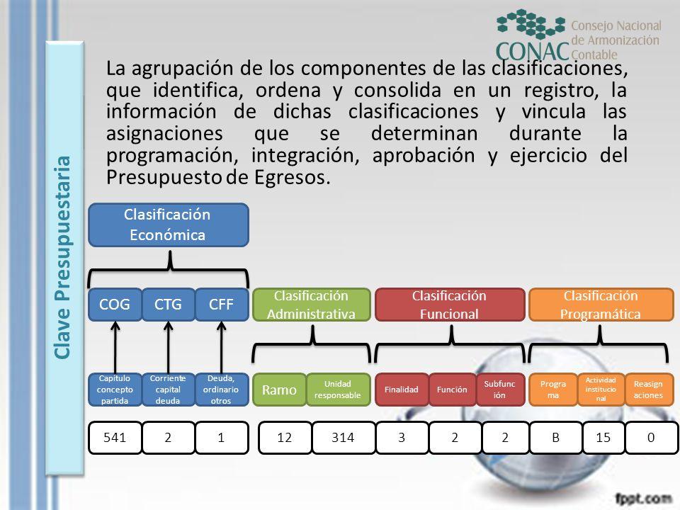 La agrupación de los componentes de las clasificaciones, que identifica, ordena y consolida en un registro, la información de dichas clasificaciones y