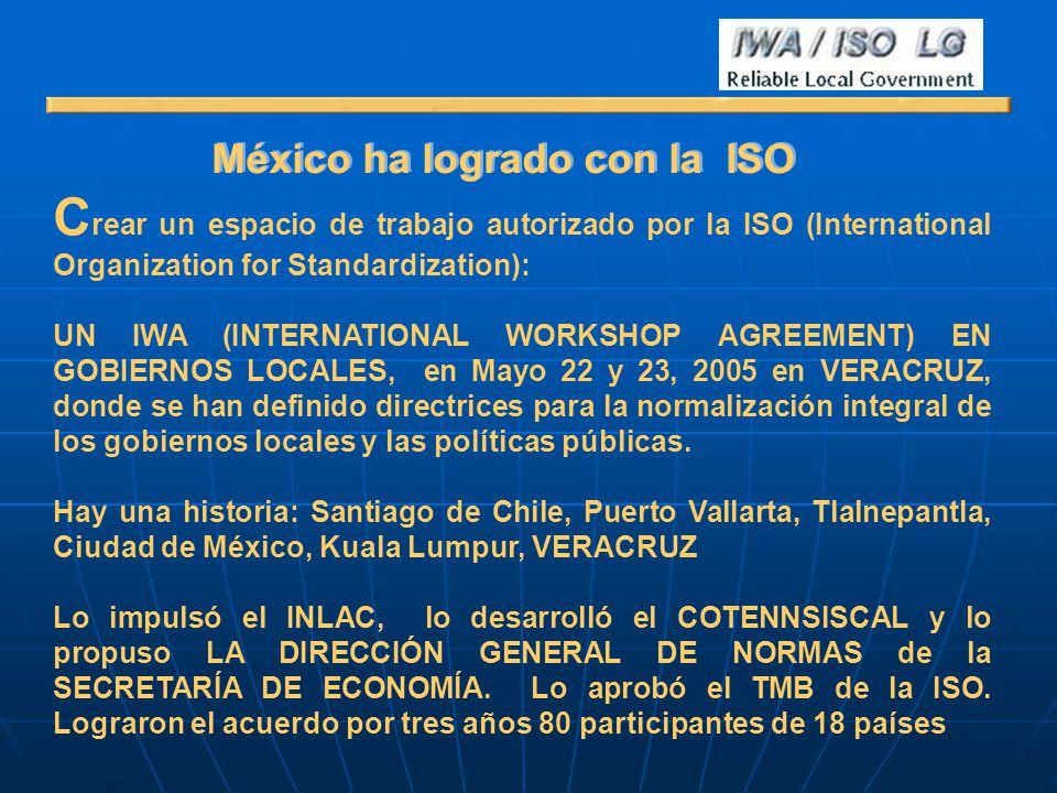 México ha logrado con la ISO C rear un espacio de trabajo autorizado por la ISO (International Organization for Standardization): UN IWA (INTERNATIONA