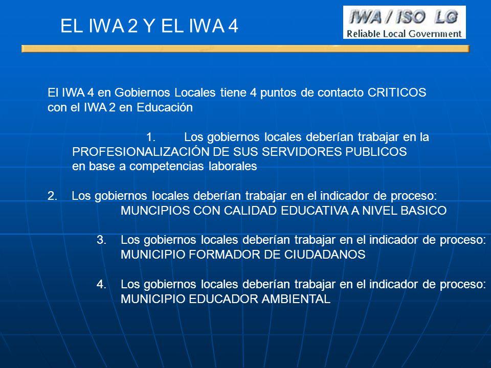 El IWA 4 en Gobiernos Locales tiene 4 puntos de contacto CRITICOS con el IWA 2 en Educación 1. Los gobiernos locales deberían trabajar en la PROFESION