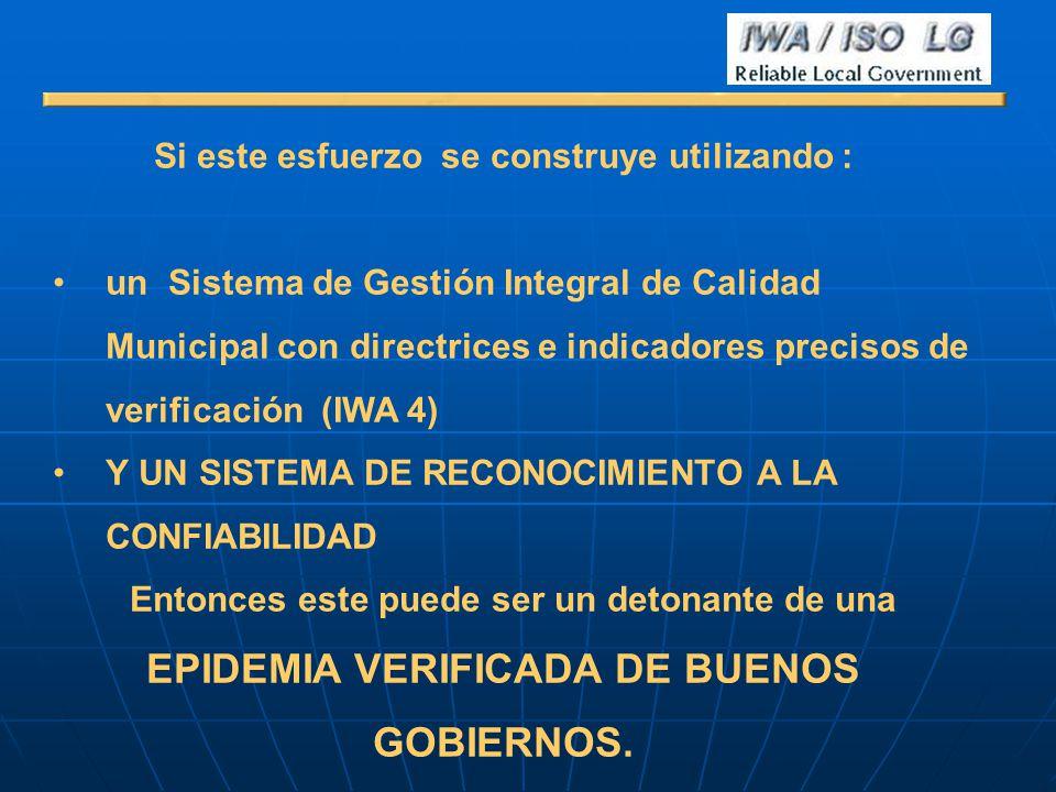 Si este esfuerzo se construye utilizando : un Sistema de Gestión Integral de Calidad Municipal con directrices e indicadores precisos de verificación