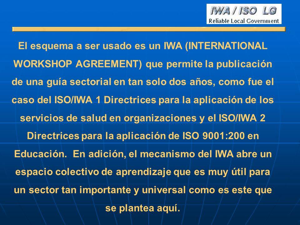 El esquema a ser usado es un IWA (INTERNATIONAL WORKSHOP AGREEMENT) que permite la publicación de una guía sectorial en tan solo dos años, como fue el