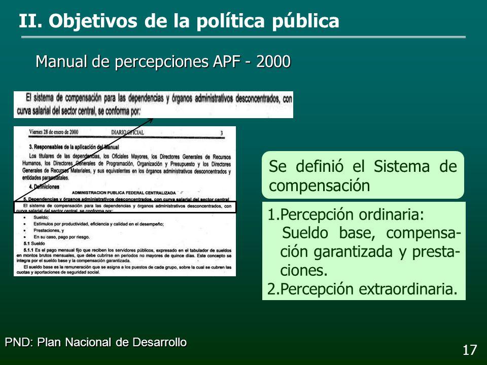 2000 - 2001 Presupuesto de Egresos de la Federación II. Objetivos de la política pública 16 Se ordenó publicar los ma- nuales de percepciones y tabula
