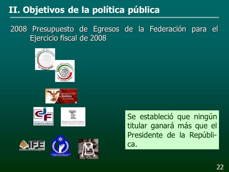 21 2006 Ley Federal de Presupuesto y Responsabilidad Hacen- daria II. Objetivos de la política pública Se estableció que las re- muneraciones en la AP