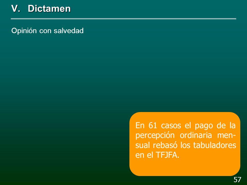 V.Dictamen Opinión con salvedad 56 La remuneración del titular del TFJFA fue mayor a la del Presidente en 3.4%.