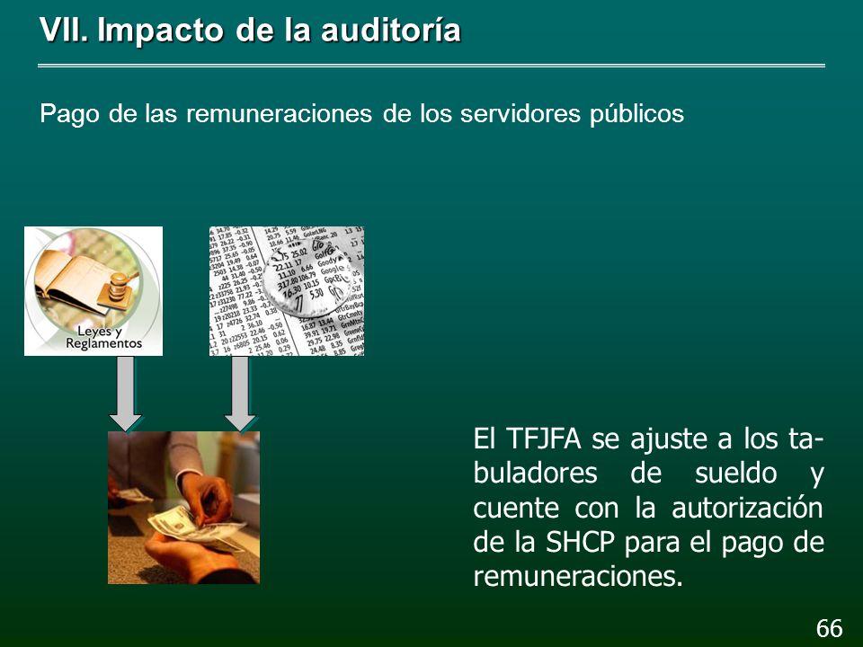 VII.Impacto de la auditoría Pago de las remuneraciones de los servidores públicos Beneficios del personal de base NO Personal de mando 65 BANCOMEXT y