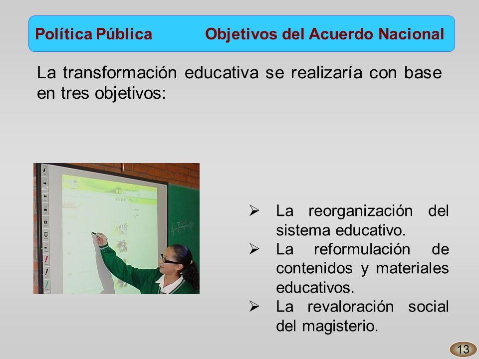 La transformación educativa se realizaría con base en tres objetivos: Política Pública Objetivos del Acuerdo Nacional La reorganización del sistema educativo.