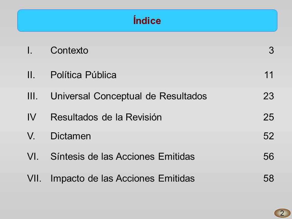 Índice I.Contexto3 II.Política Pública11 III.Universal Conceptual de Resultados23 IV V.