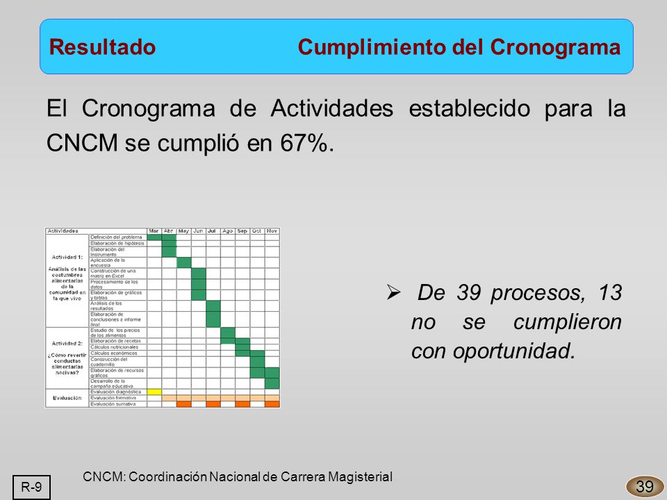 El Cronograma de Actividades establecido para la CNCM se cumplió en 67%.