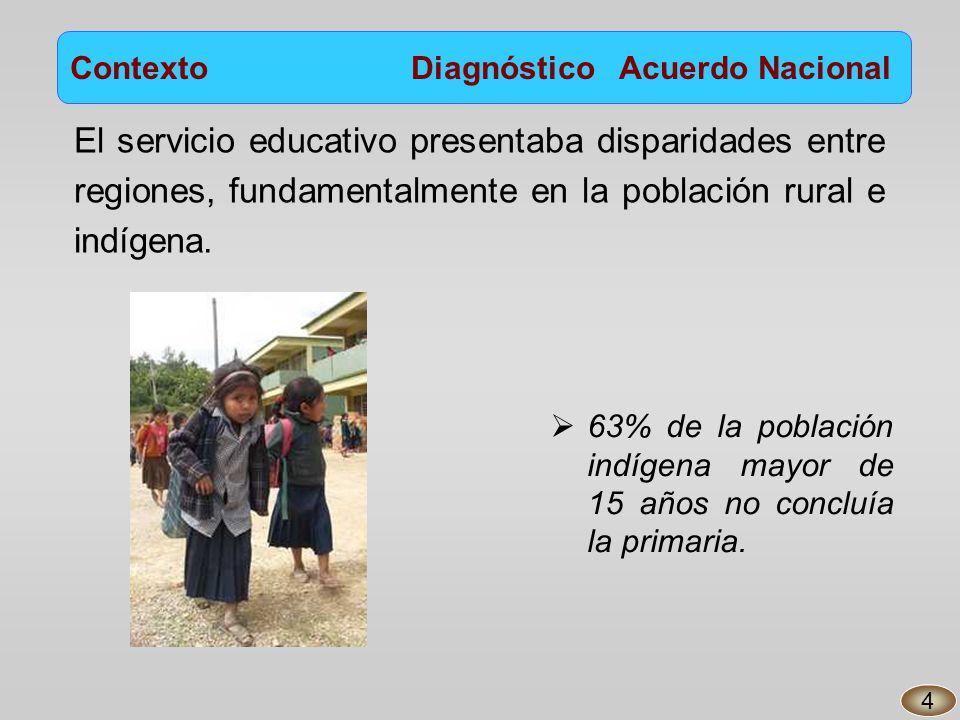 Contexto Diagnóstico Acuerdo Nacional El servicio educativo presentaba disparidades entre regiones, fundamentalmente en la población rural e indígena.