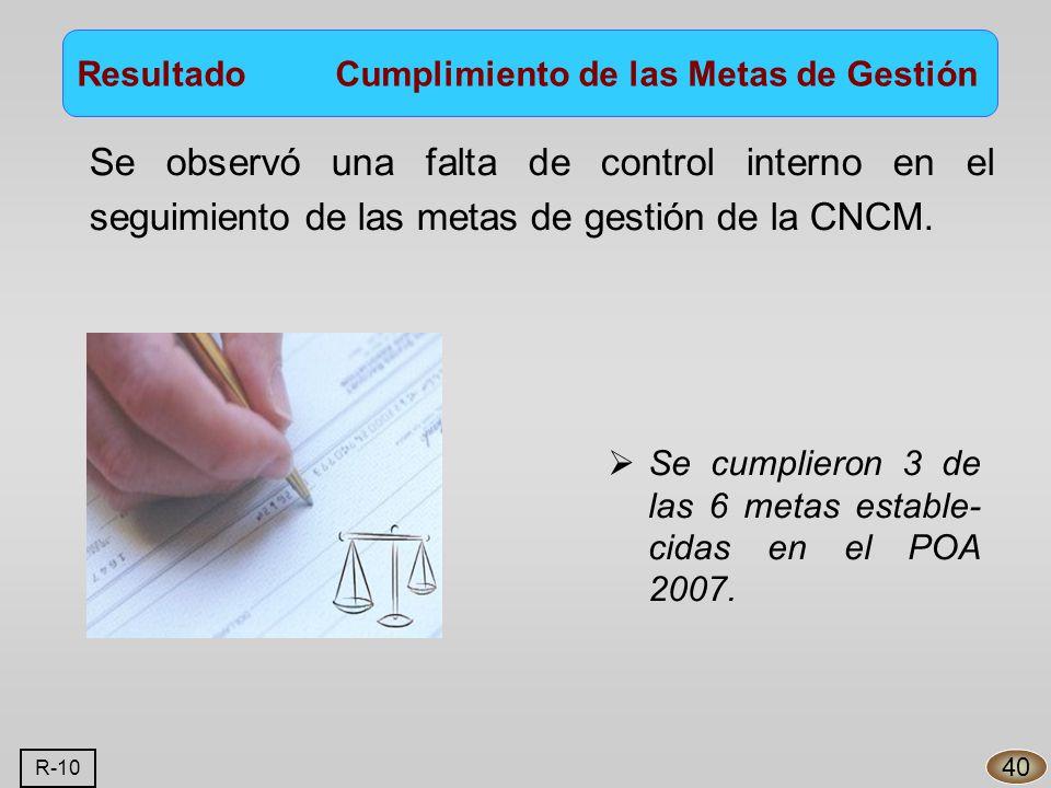 Se observó una falta de control interno en el seguimiento de las metas de gestión de la CNCM.