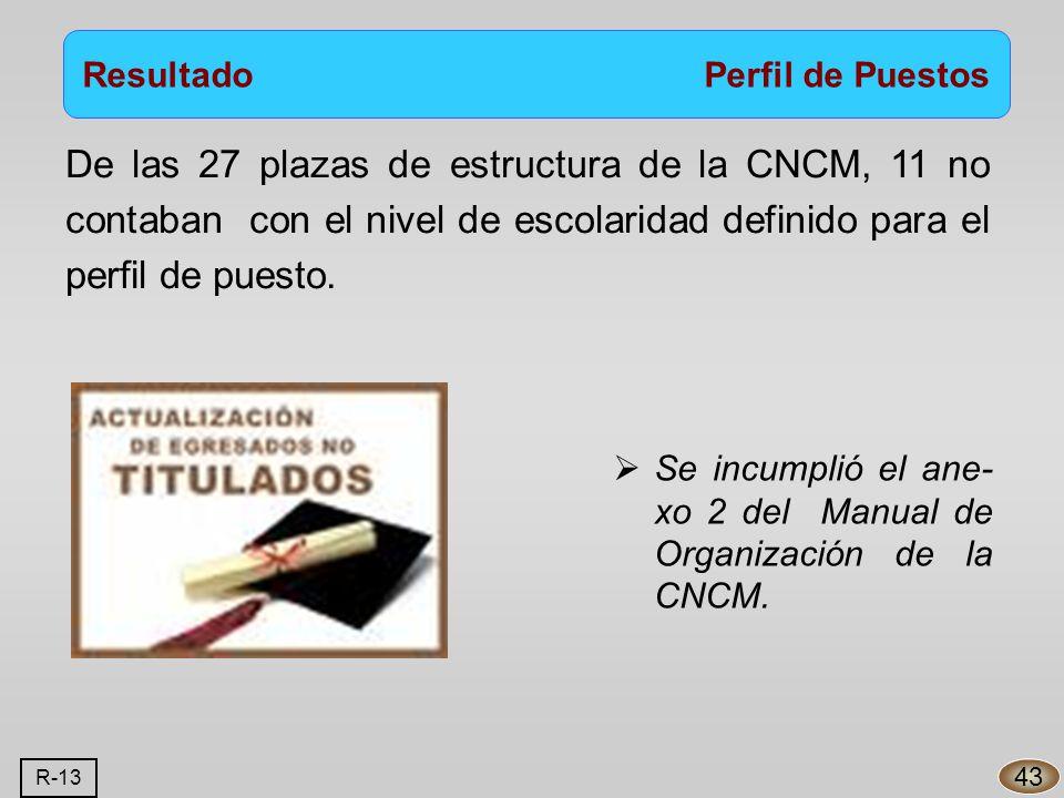 De las 27 plazas de estructura de la CNCM, 11 no contaban con el nivel de escolaridad definido para el perfil de puesto.