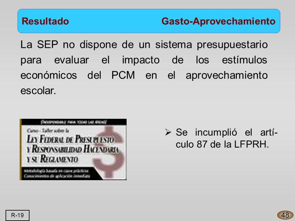 Resultado Gasto-Aprovechamiento La SEP no dispone de un sistema presupuestario para evaluar el impacto de los estímulos económicos del PCM en el aprovechamiento escolar.