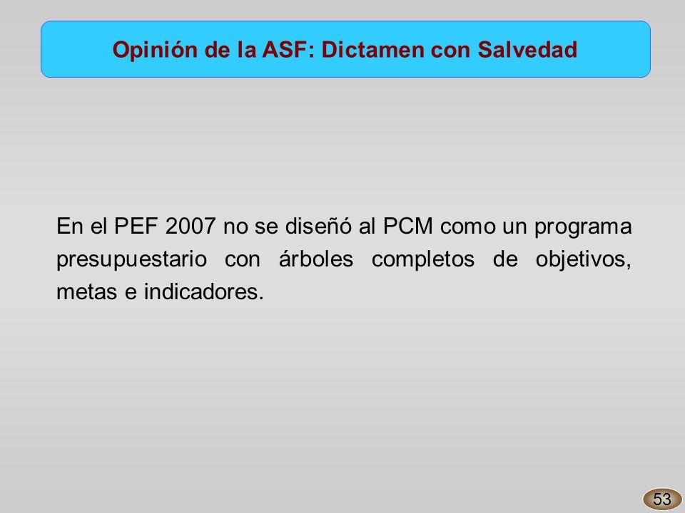 En el PEF 2007 no se diseñó al PCM como un programa presupuestario con árboles completos de objetivos, metas e indicadores.