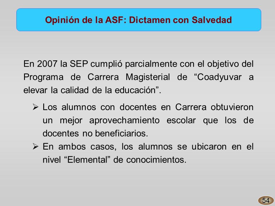 En 2007 la SEP cumplió parcialmente con el objetivo del Programa de Carrera Magisterial de Coadyuvar a elevar la calidad de la educación.
