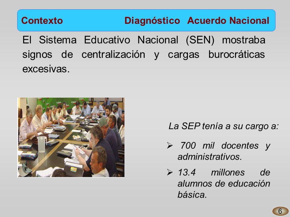 El Sistema Educativo Nacional (SEN) mostraba signos de centralización y cargas burocráticas excesivas.