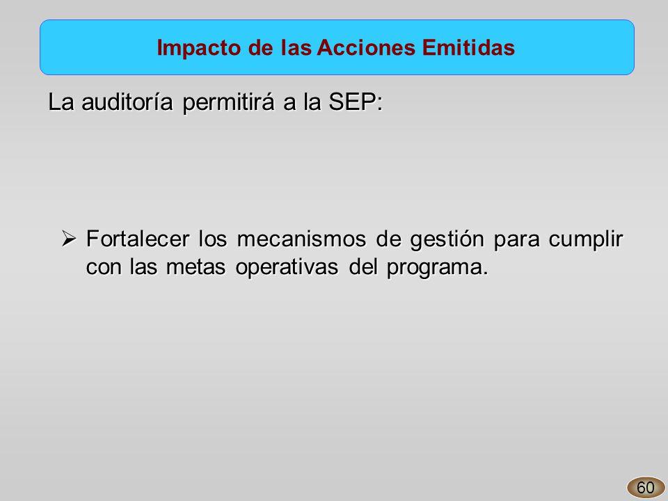 Impacto de las Acciones Emitidas La auditoría permitirá a la SEP: Fortalecer los mecanismos de gestión para cumplir con las metas operativas del programa.