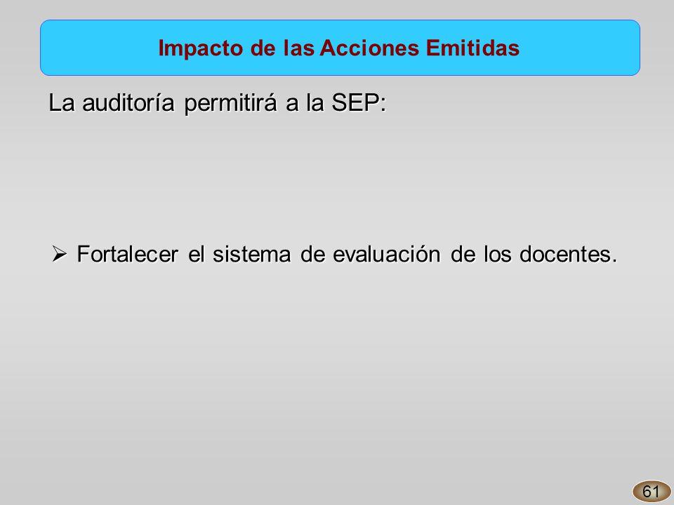 Impacto de las Acciones Emitidas Fortalecer el sistema de evaluación de los docentes.