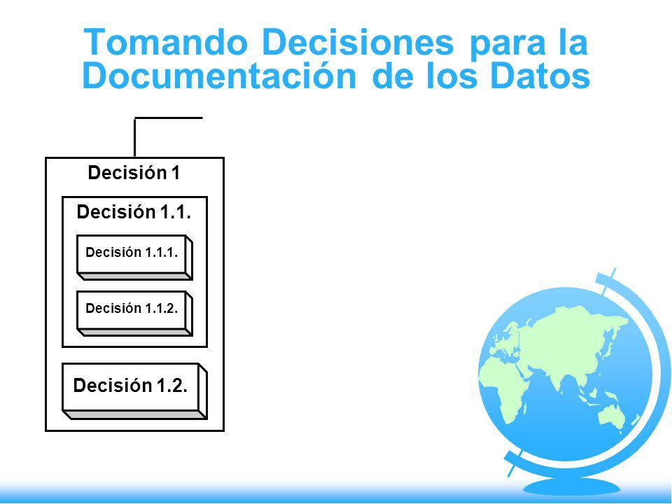 Tomando Decisiones para la Documentación de los Datos Decisión 1 Decisión 1.1. Decisión 1.1.1. Decisión 1.1.2. Decisión 1.2.