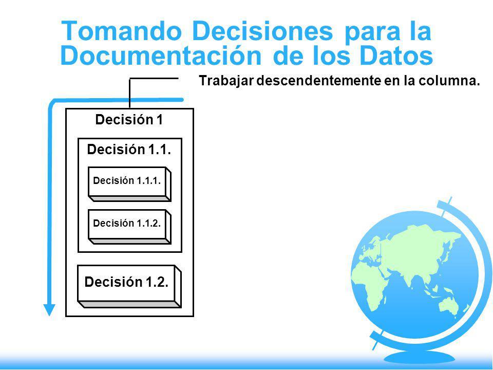 Tomando Decisiones para la Documentación de los Datos Trabajar descendentemente en la columna. Decisión 1 Decisión 1.1. Decisión 1.1.1. Decisión 1.1.2