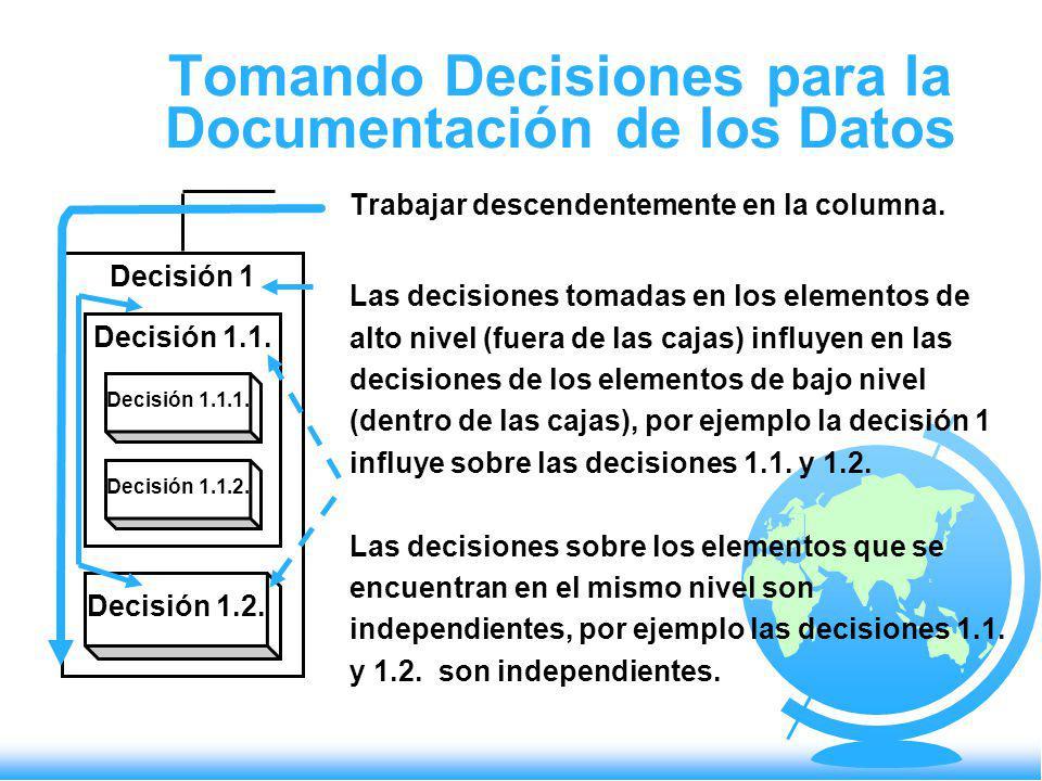 Tomando Decisiones para la Documentación de los Datos Trabajar descendentemente en la columna. Las decisiones tomadas en los elementos de alto nivel (