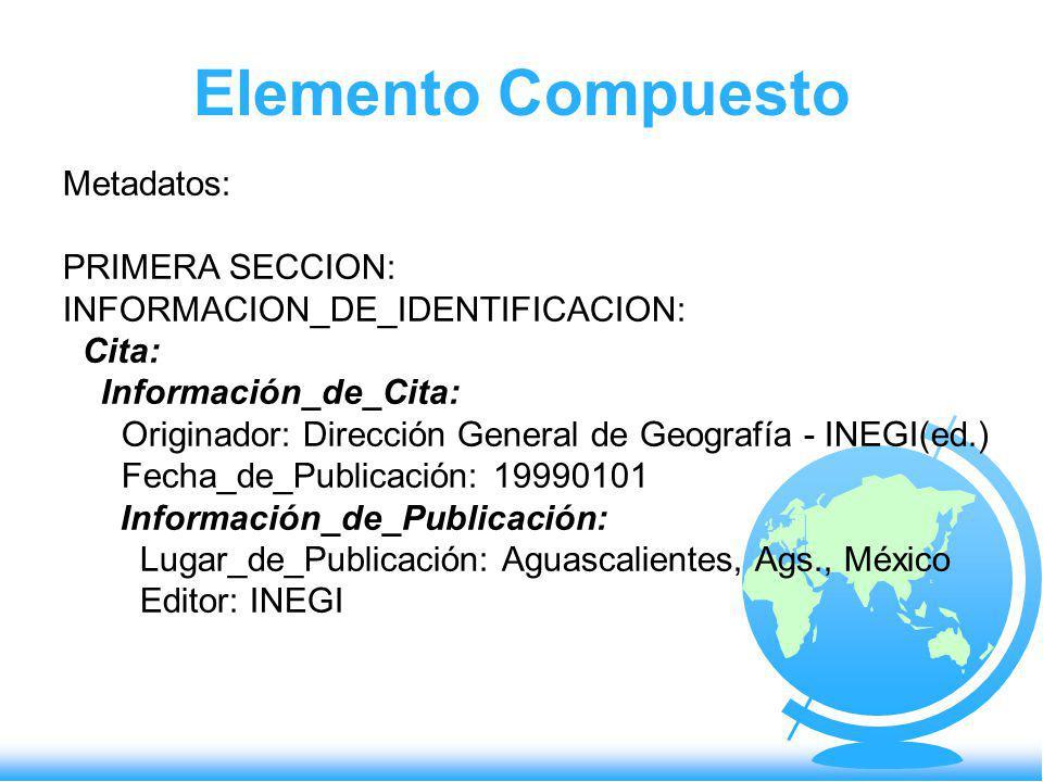 Elemento Compuesto Metadatos: PRIMERA SECCION: INFORMACION_DE_IDENTIFICACION: Cita: Información_de_Cita: Originador: Dirección General de Geografía -
