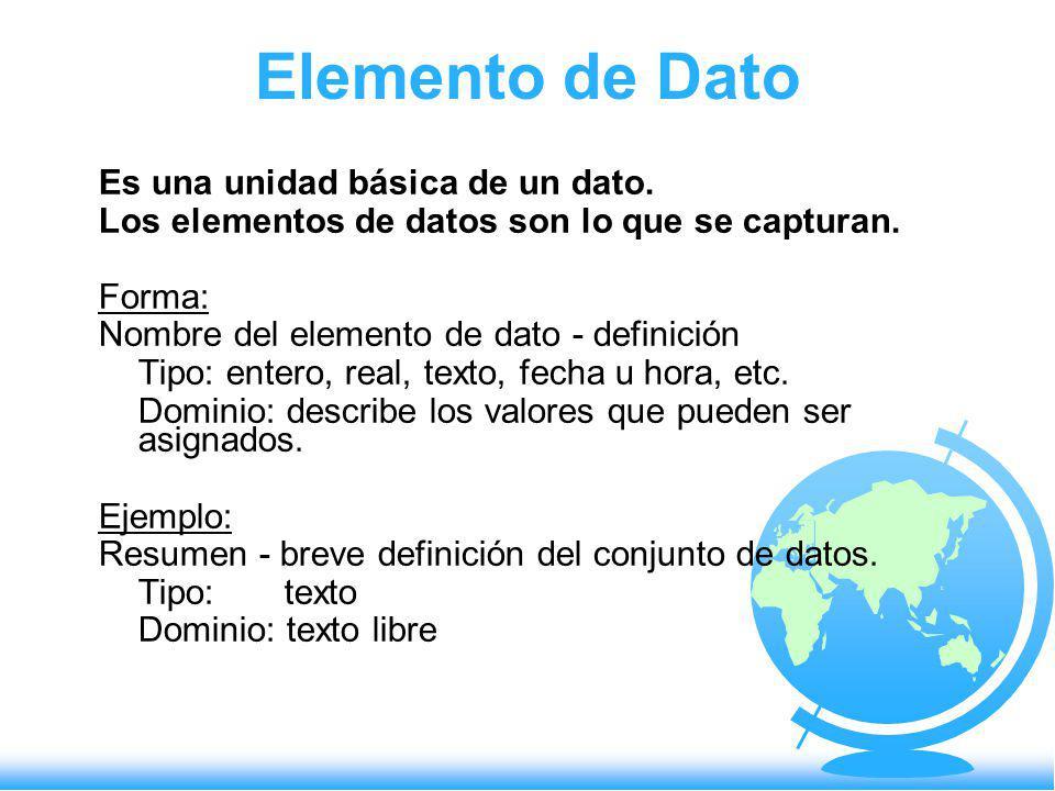 Elemento de Dato Es una unidad básica de un dato. Los elementos de datos son lo que se capturan. Forma: Nombre del elemento de dato - definición Tipo: