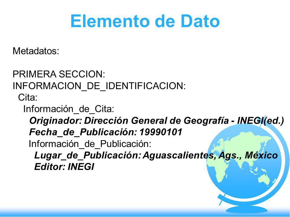 Elemento de Dato Metadatos: PRIMERA SECCION: INFORMACION_DE_IDENTIFICACION: Cita: Información_de_Cita: Originador: Dirección General de Geografía - IN
