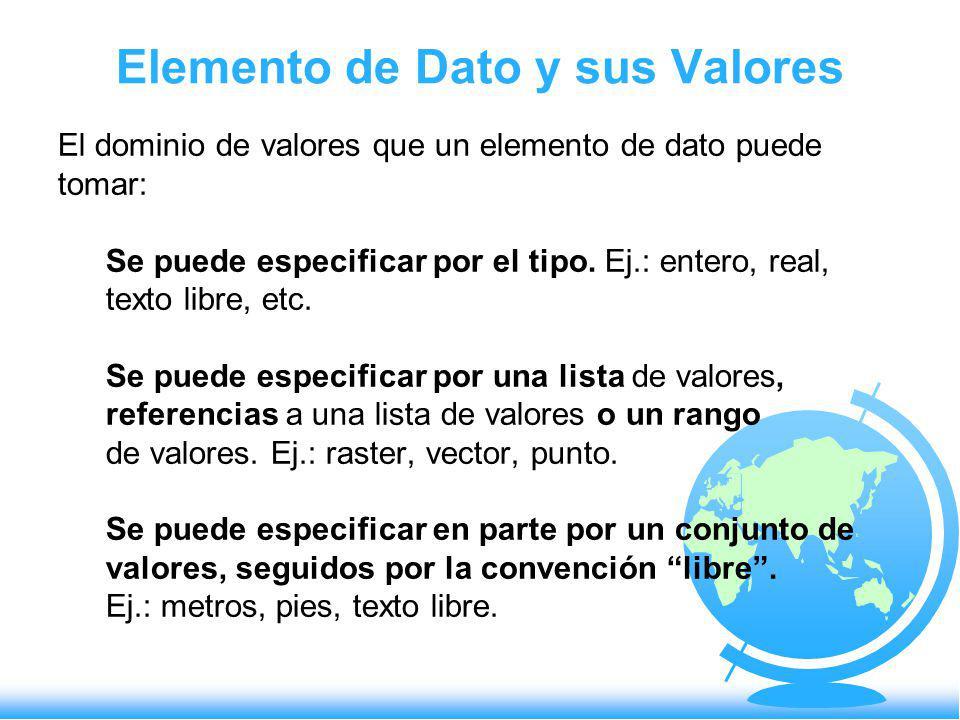 Elemento de Dato y sus Valores El dominio de valores que un elemento de dato puede tomar: Se puede especificar por el tipo. Ej.: entero, real, texto l