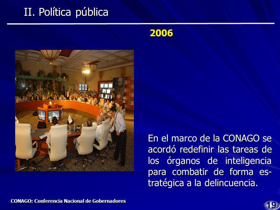 1818 2005 2005 Se creó la Subsecretaría de Política Criminal en la SSP Para formular estrategias de combate al fenómeno crimi- nal.