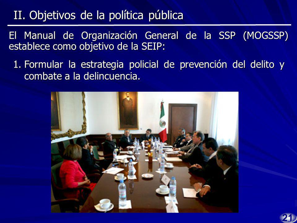 2020 Subsecretaría de Estrategia e Inteligencia Policial (SEIP) Coordinar la estrategia poli- cial de prevención del delito en el ámbito federal.