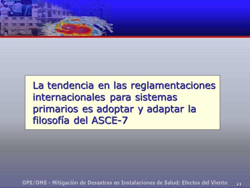 21 La tendencia en las reglamentaciones internacionales para sistemas primarios es adoptar y adaptar la filosofía del ASCE-7