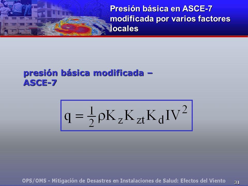 31 presión básica modificada – ASCE-7 Presión básica en ASCE-7 modificada por varios factores locales