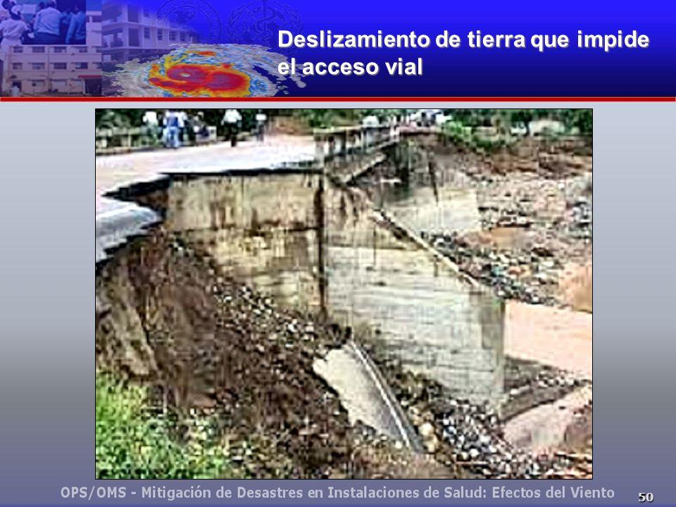 50 Deslizamiento de tierra que impide el acceso vial