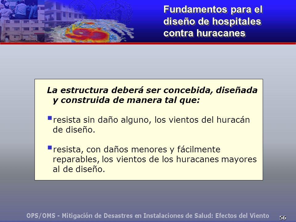 56 Fundamentos para el diseño de hospitales contra huracanes La estructura deberá ser concebida, diseñada y construida de manera tal que: resista sin