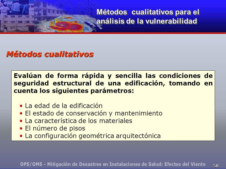 58 Métodos cualitativos Evalúan de forma rápida y sencilla las condiciones de seguridad estructural de una edificación, tomando en cuenta los siguient