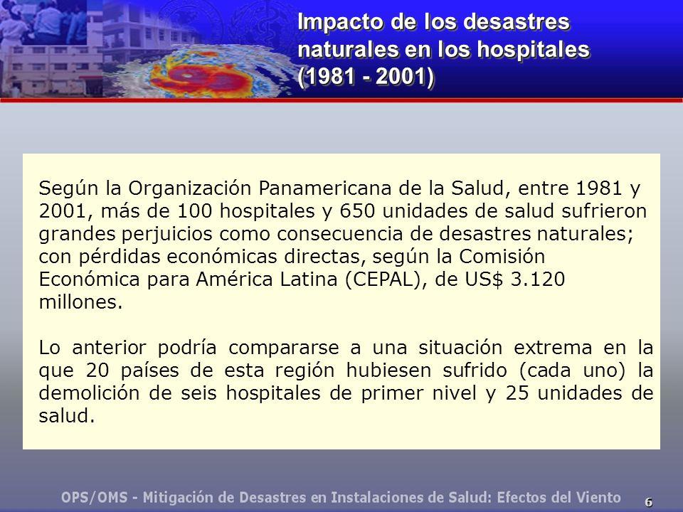 6 Impacto de los desastres naturales en los hospitales (1981 - 2001) Impacto de los desastres naturales en los hospitales (1981 - 2001) Según la Organ