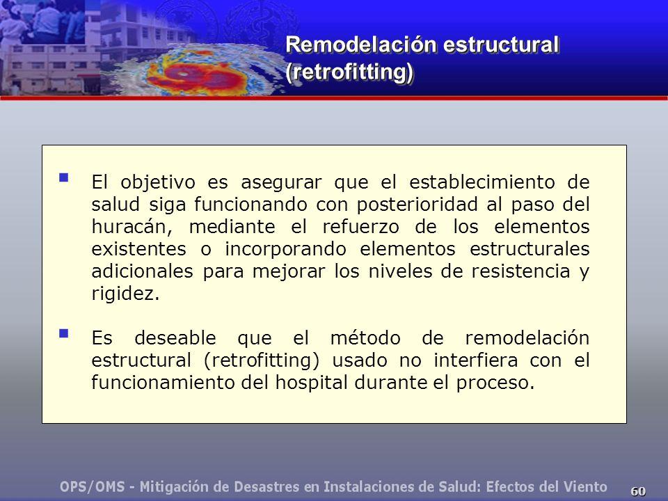 60 El objetivo es asegurar que el establecimiento de salud siga funcionando con posterioridad al paso del huracán, mediante el refuerzo de los element