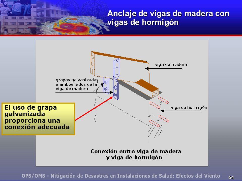 64 Anclaje de vigas de madera con vigas de hormigón El uso de grapa galvanizada proporciona una conexión adecuada