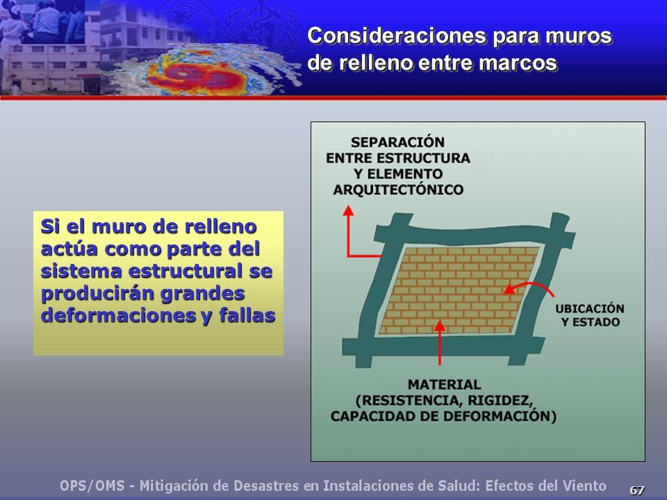 67 Consideraciones para muros de relleno entre marcos Si el muro de relleno actúa como parte del sistema estructural se producirán grandes deformaciones y fallas